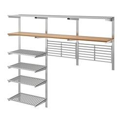 KUNGSFORS - Suspension rail w shelves/wll grids, stainless steel/ash