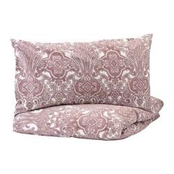 JÄTTEVALLMO - Sarung quilt dan sarung bantal, putih/merah muda tua
