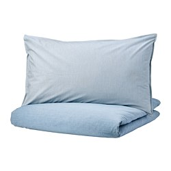 BLÅVINDA - Sarung quilt dan 2 sarung bantal, biru muda