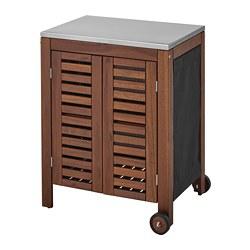 ÄPPLARÖ/KLASEN - Storage cabinet, outdoor, brown stained/stainless steel colour