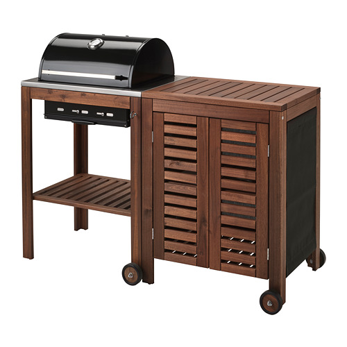 ÄPPLARÖ/KLASEN - charcoal barbecue with cabinet, brown stained   IKEA Indonesia - PE748643_S4