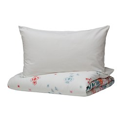 GRÖNVIDE - Quilt cover and 4 pillowcases, multicolour