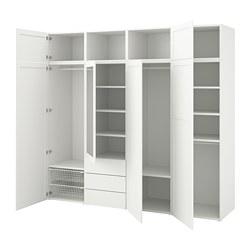PLATSA - Lemari dengan 7 pintu + 3 laci, putih/Sannidal Ridabu