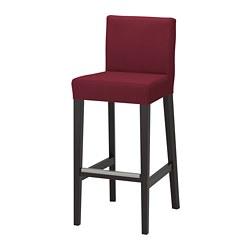HENRIKSDAL - Kursi bar dengan sandaran, cokelat tua/Nykvarn merah tua