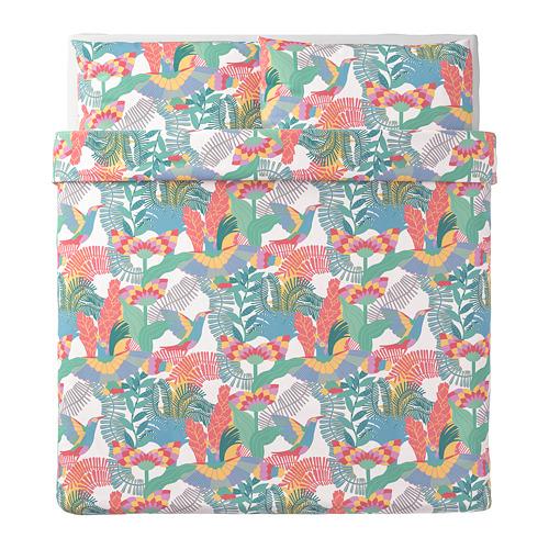SKOGSFIBBLA sarung quilt dan 2 sarung bantal