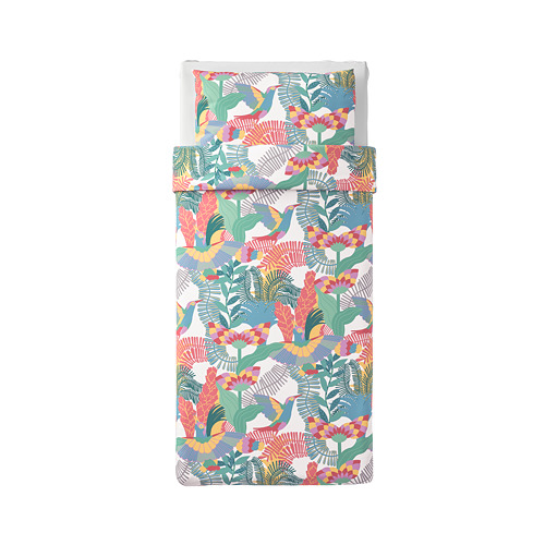 SKOGSFIBBLA sarung quilt dan sarung bantal