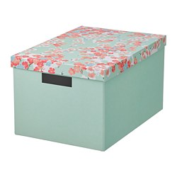 TJENA - Storage box with lid, flower/light green