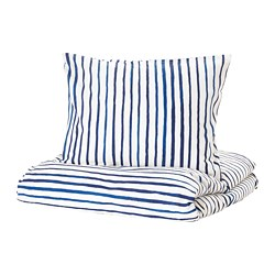 SÅNGLÄRKA - Sarung quilt dan sarung bantal, garis-garis/biru putih