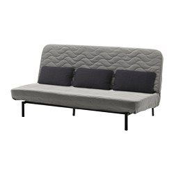 NYHAMN - Sofa-bed with triple cushion, with pocket spring mattress/Knisa grey/beige