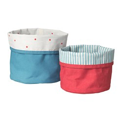 NÖJSAM - Basket, set of 2, red/blue