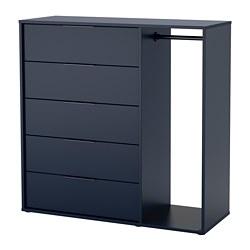 NORDMELA - Lemari laci dengan rel pakaian, hitam-biru