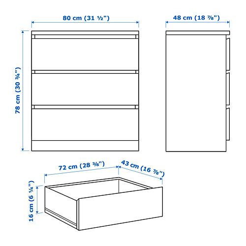 MALM - lemari 3 laci, putih, 80x78 cm   IKEA Indonesia - PE749101_S4