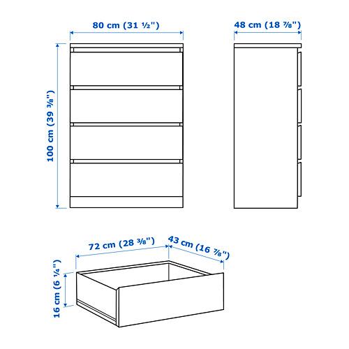 MALM - lemari 4 laci, diwarnai cokelat veneer kayu ash, 80x100 cm | IKEA Indonesia - PE749103_S4