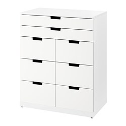 NORDLI - Chest of 8 drawers, white