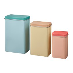 VÅRFINT - Kaleng dengan penutup, set isi 3, krem biru/merah muda