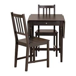 INGATORP/STEFAN - Meja dan 2 kursi, hitam-cokelat/cokelat-hitam