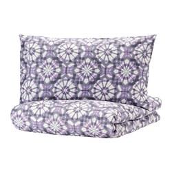 VATTENFRÄNE - Sarung quilt dan sarung bantal, putih/ungu