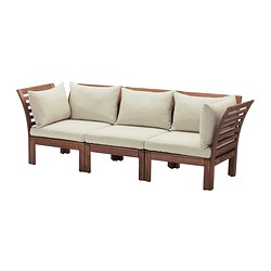 ÄPPLARÖ - 3-seat modular sofa, outdoor, brown stained/Hållö beige