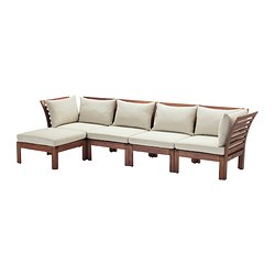 ÄPPLARÖ - 4-seat modular sofa, outdoor, with footstool brown stained/Hållö beige