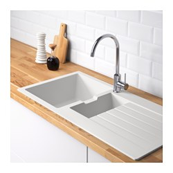 HÄLLVIKEN - 1 1/2 bowl insert sink with drainer, white quartz composite
