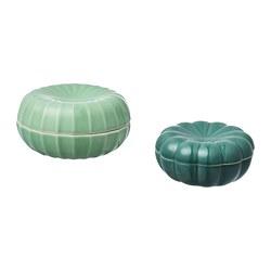 VANLIGEN - Kotak dekorasi, set isi 2, hijau tua