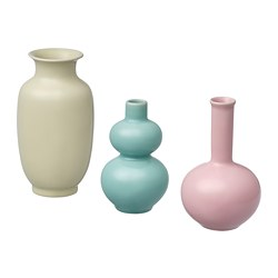 ÅTERTÅG - Vas, set isi 3, hijau/merah muda/kuning