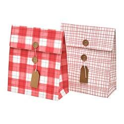 VINTER 2019 - Gift bag, red/check pattern