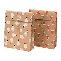 VINTER 2019 - Gift bag, natural colour/beige patterned