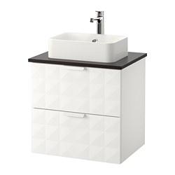 GODMORGON/TOLKEN/HÖRVIK - Meja wastafel dg meja ukuran 45x32, Resjön putih/antrasit Keran Brogrund