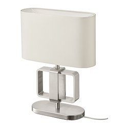 UPPVIND - Table lamp, nickel-plated/white, 47 cm