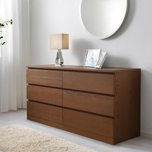 MALM - lemari 6 laci, diwarnai cokelat veneer kayu ash, 160x78 cm   IKEA Indonesia - PE624330_S4