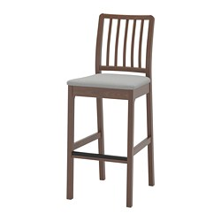 EKEDALEN - Bar stool with backrest, brown/Orrsta light grey