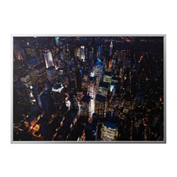 BJÖRKSTA - Picture with frame, city lights, New York/aluminium-colour