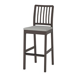 EKEDALEN - Bar stool with backrest, dark brown/Orrsta light grey