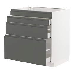 METOD/MAXIMERA - Base cab f hob/4 fronts/3 drawers, white/Voxtorp dark grey