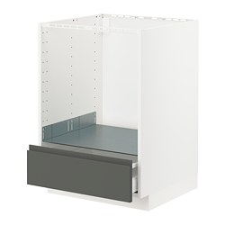 METOD/MAXIMERA - Base cabinet for oven with drawer, white/Voxtorp dark grey