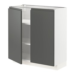 METOD - Base cabinet with shelves/2 doors, white/Voxtorp dark grey