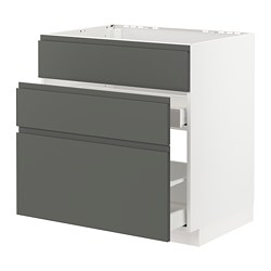 METOD/MAXIMERA - Base cab f sink+3 fronts/2 drawers, white/Voxtorp dark grey