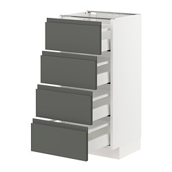METOD/MAXIMERA - Base cab 4 frnts/4 drawers, white/Voxtorp dark grey