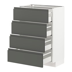 METOD/MAXIMERA - Kab dasar 4 bag depan/4 laci, putih/Voxtorp abu-abu tua