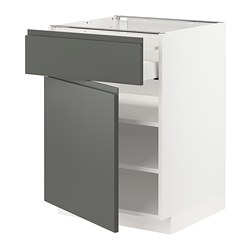 METOD/MAXIMERA - Kabinet dasar dengan laci/pintu, putih/Voxtorp abu-abu tua