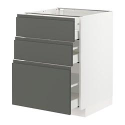METOD/MAXIMERA - Base cabinet with 3 drawers, white/Voxtorp dark grey