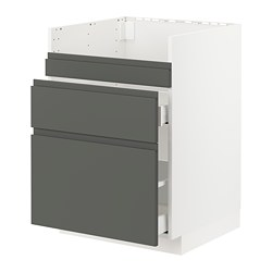 METOD/MAXIMERA - Dsr wstfl HAVSEN/3 pintu/2 laci, putih/Voxtorp abu-abu tua