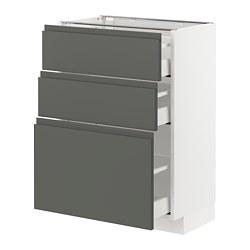 METOD/MAXIMERA - Kabinet dasar dgn 3 laci, putih/Voxtorp abu-abu tua