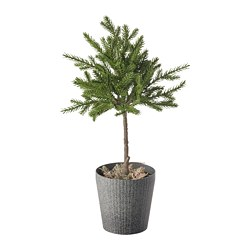 VINTERFEST - Artificial potted plant with pot, in/outdoor spruce/stem