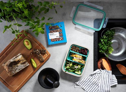 IKEA 365+ - Kotak makan dg sisipan, persegi panjang/krem, 1.0 l   IKEA Indonesia - PH170111_S4