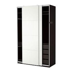 PAX - Wardrobe, black-brown/Färvik white glass