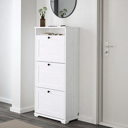 BRUSALI - Shoe cabinet with 3 compartments, white