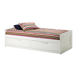 BRIMNES - Day-bed w 2 drawers/2 mattresses, white/Husvika firm