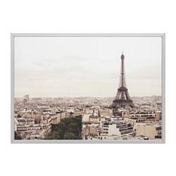 BJÖRKSTA - Gambar dengan bingkai, Paris city/warna aluminium